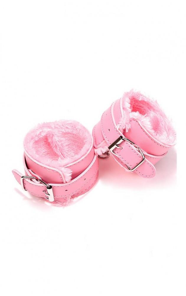 Кожени белезници в розово