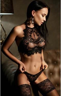 Еротичен дантелен комплект с връзки - черен