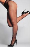 Черен чорапогащник ситна мрежа с кристали