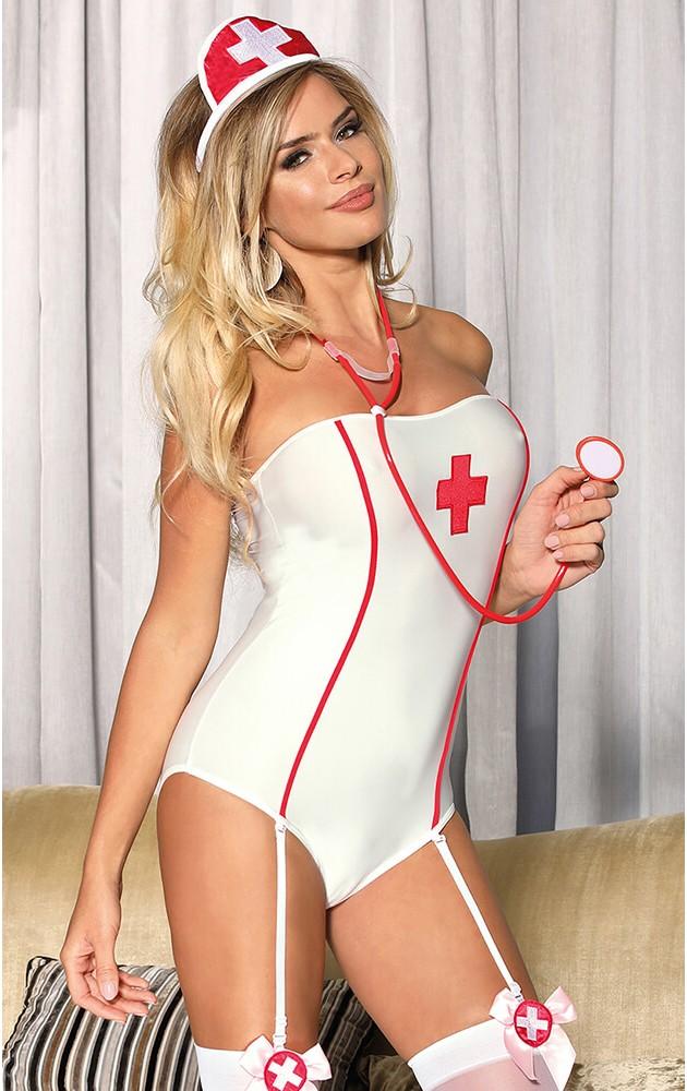 Костюм медицинска сестра – плътно боди и касинка