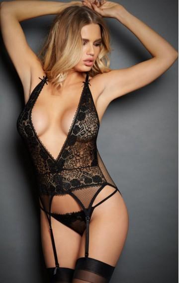 Еротичен черен комплект с дантела и мрежа