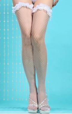 Мрежести бели чорапи с къдрички за жартиери
