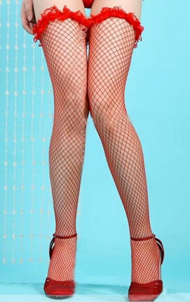 Мрежести червени чорапи с къдрички за жартиери
