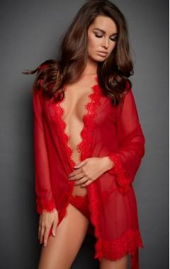 Прозрачен червен халат