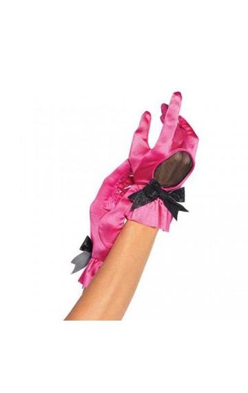 Розови ръкавици с мрежа и панделка