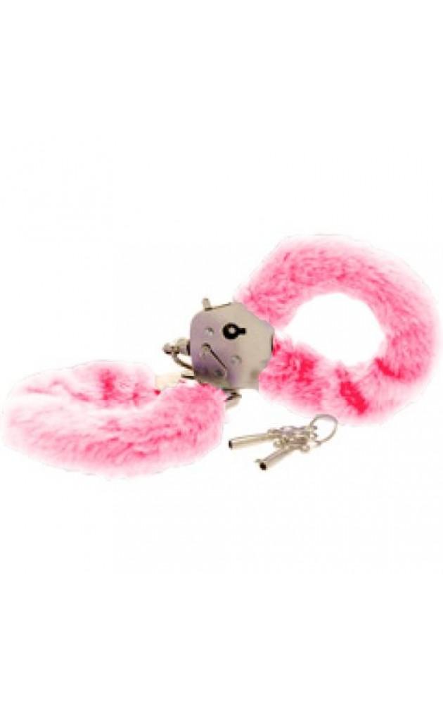 Луксозни белезници с пух - розови