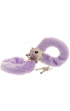 Луксозни белезници с пух - лилави
