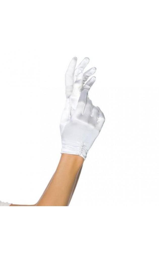 Сатенени бели ръкавици