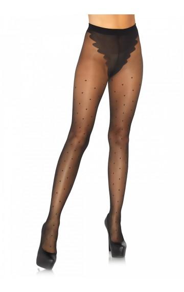 Елегантен черен чорапогащник на точки