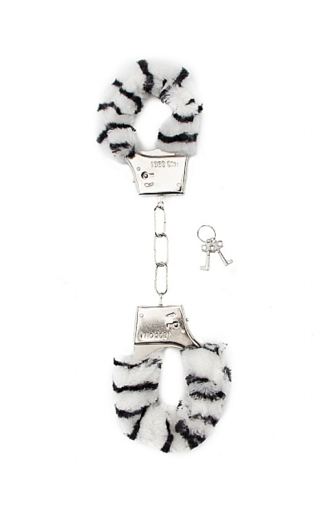 Белезници с пух с шарка зебра